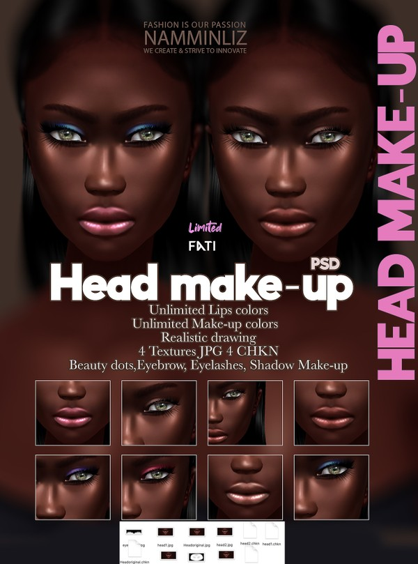Fati Head Make-up Unlimited Lips & Make-up colors PSD 4  JPG 4 CHKN, Eyebrow, Eyelashes Limited 2