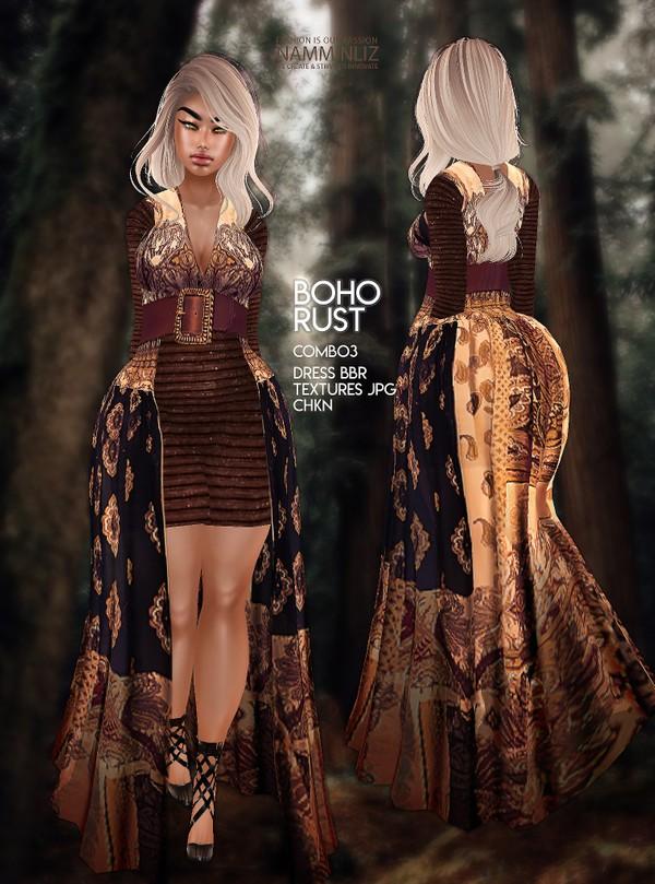 Boho Rust Combo 3 Dress BBR Textures JPG CHKN