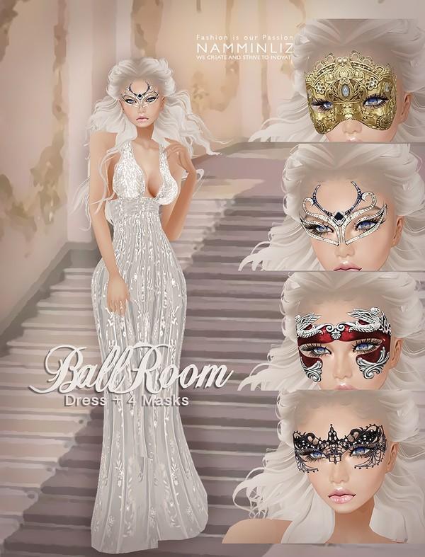 Ballroom Dress +4 Masks PNG Textures