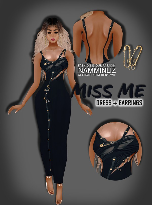 Miss me Dress + Earrings  All sizes Textures PNG ^   .   ^