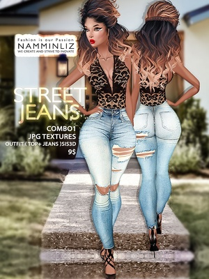 Street Jeans full combo1 Textures JPG Outfits ( Top + Jeans ) Sis3d