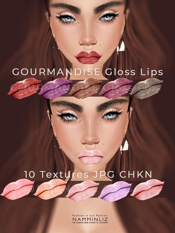 Gourmandise 10 Gloss Lips JPG Textures CHKN ( Lips kloudust )