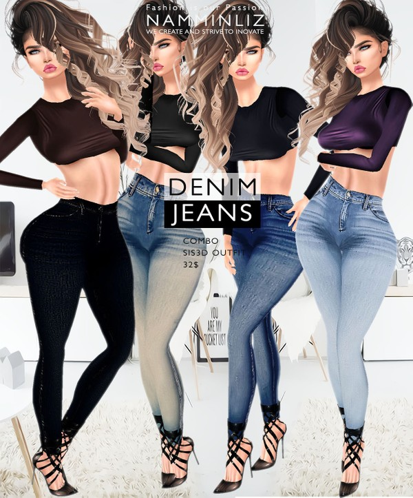 Denim Jeans Full combo imvu Sis3d outfit Jeans & Tops