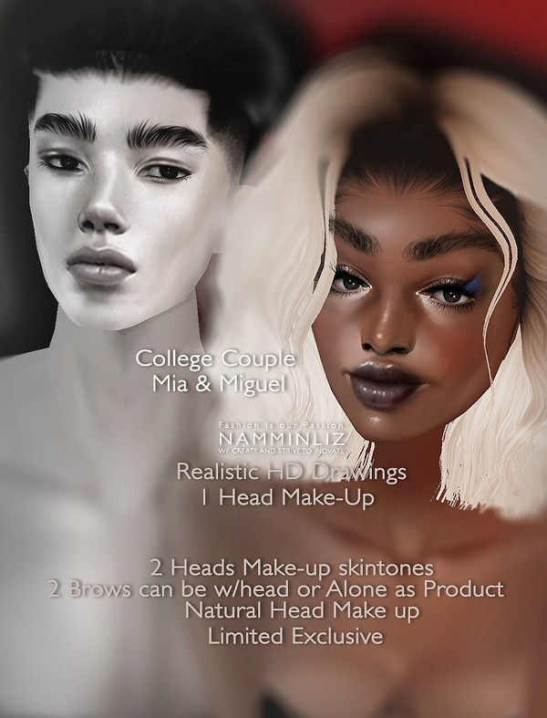 Miguel & Mia (Mia) Head Make-up Textures PSD Master Resell right Exclusive Limited to 1 client