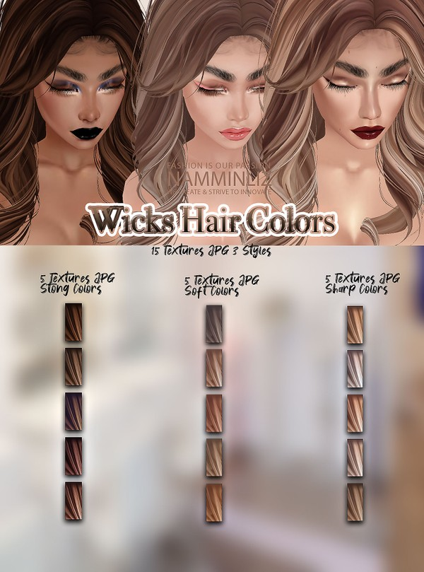 Wicks Hair Colors 15 Textures JPG 3 Styles (Strong,Soft,Sharp)
