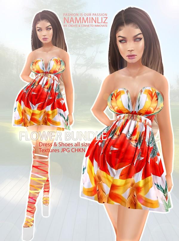 Flower Bundle Dress & Shoes Textures JPG CHKN Textures JPG