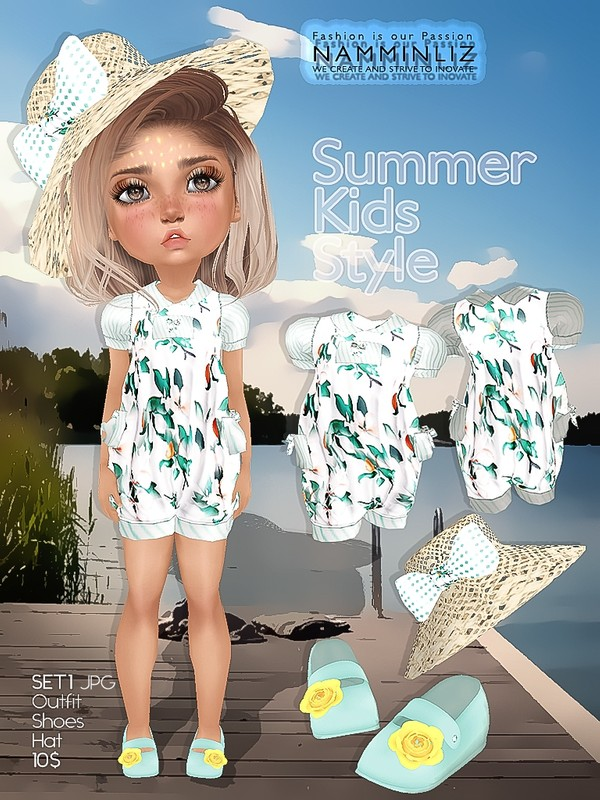 Summer kids Style SET1 Outfit + Hat + Shoes JPG