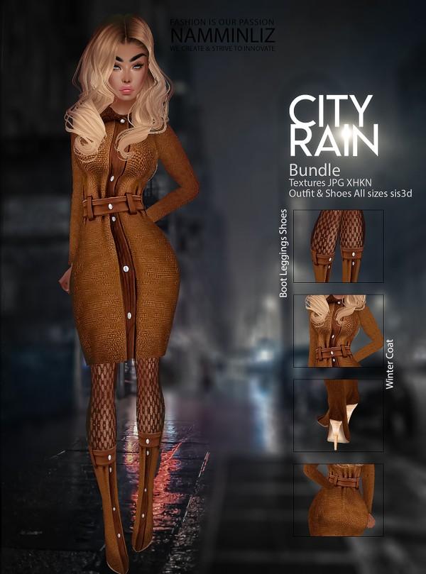 City Rain Bundle Textures JPG CHKN Outfit & Shoes all sizes sis3d