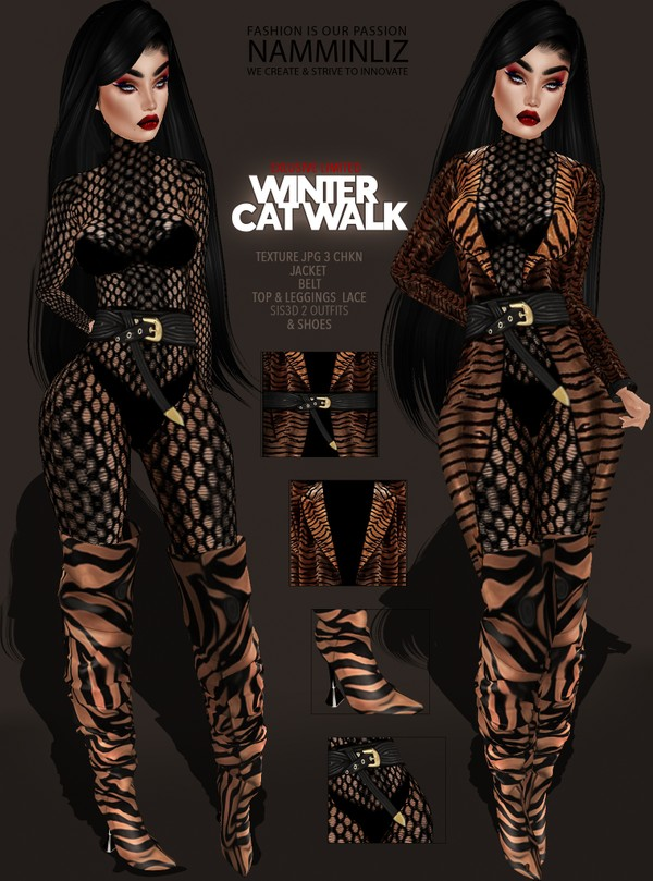 Winter CATWALK Exclusive imvu cat Bundle 2 OutfitTexture JPG 3 CHKN Jacket  Belt Top & Leggings Lace