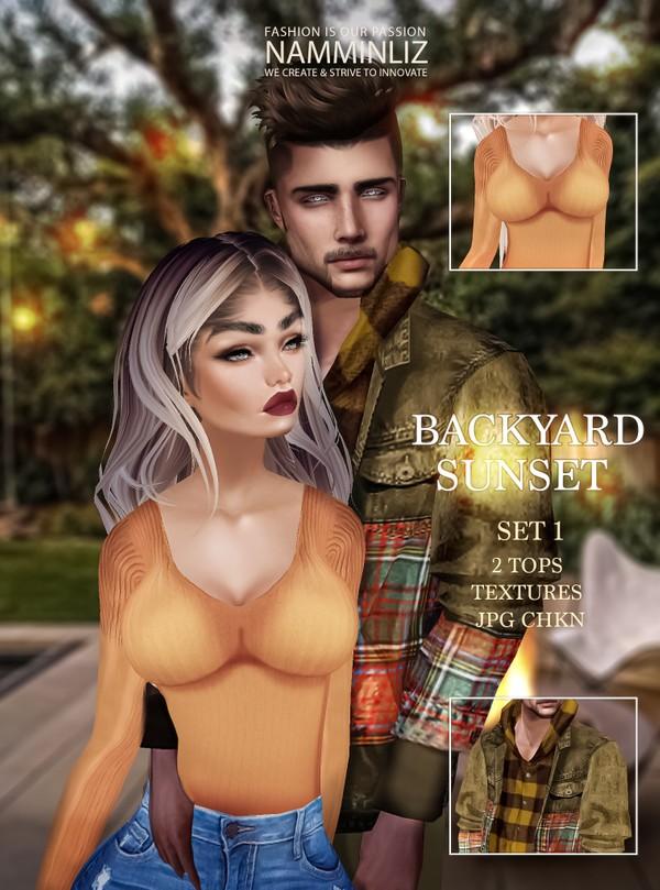 Backyard Sunset SET 1 Textures JPG CHKN All sizes (2 Tops )