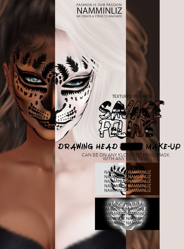 Savage Feline Drawing Head Mask Make-up Textures JPG CHKN