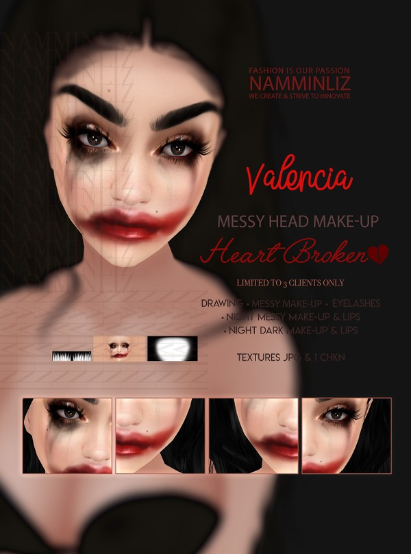 """Valencia Head Make-up Heart Broken Make-up & Lips Textures JPG CHKN Limited to 3 client"" imvu use o"