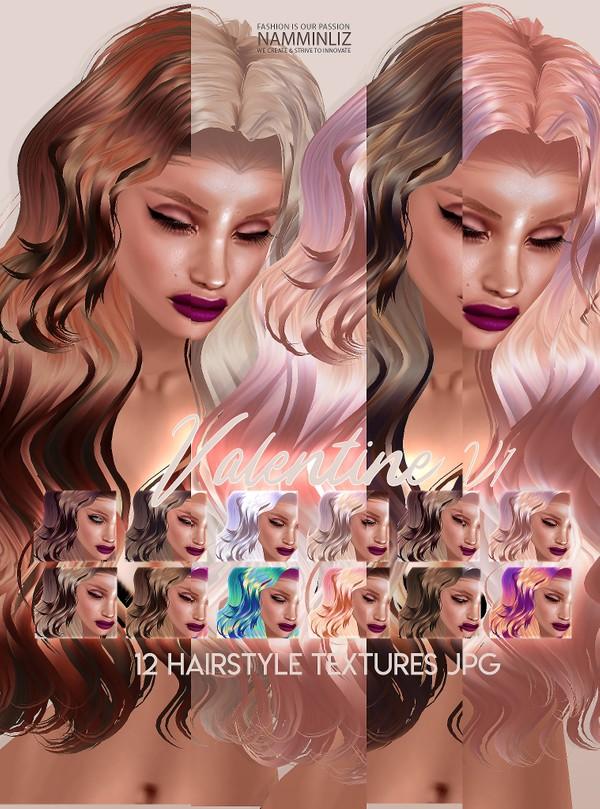 Valentine V1 Hair 22 Textures JPG & 7 Bonus