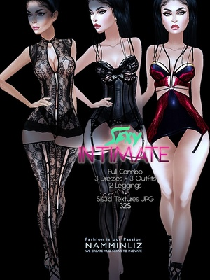 Sexy Intimate combo Full  (3Dresses + 3outfits + 2Leggings) Sis3d imvu AP  Texture JPG