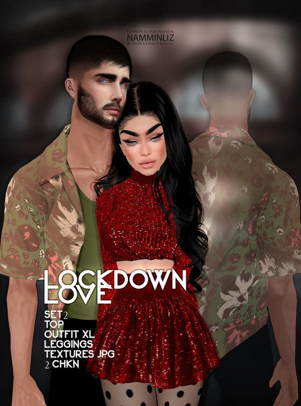 Lockdown Love SET2 Top & Outfit, Leggings XL 2 Textures JPG CHKN