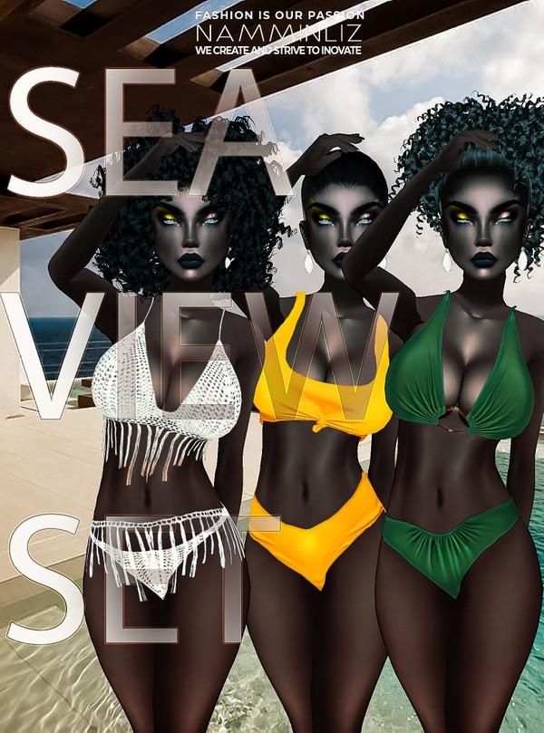 SEA VIEW SET- YELLOW, BOHO, GREEN (Swim Sizes LWB Textures JPG CHKN)