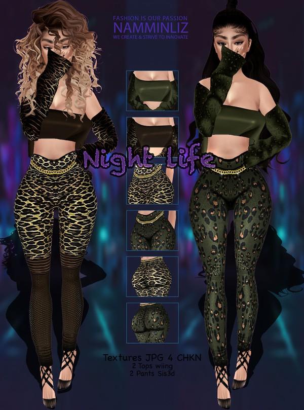Night Life Bundle JPG Textures (2 Tops Wing+ 2 Pants sis3d) 4 CHKN