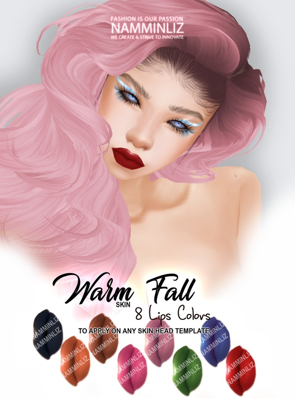 Warm Fall Skin 8 Lips Colors Textures PNG
