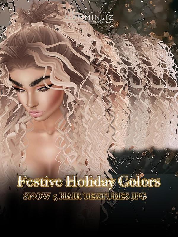 Festive Holiday colors Snow 5 hair textures JPG