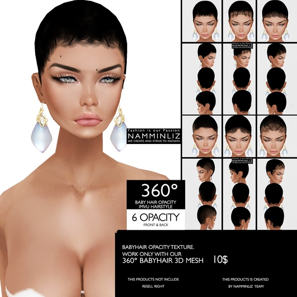 6 BABY HAIR 360° OPACITY imvu Hairstyle (Work only with our 360° BABYHAIR 3D Mesh link below)