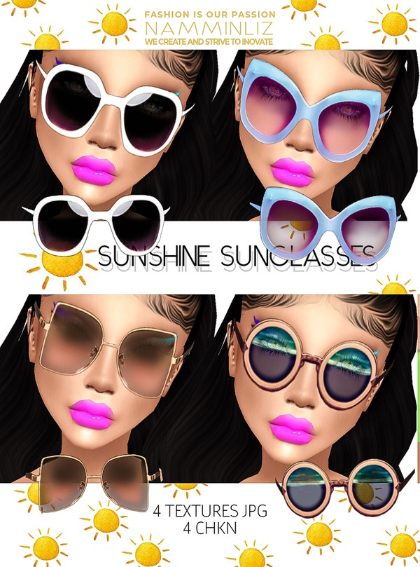 Sunshine Sunglasses 4 Textures JPG CHKN