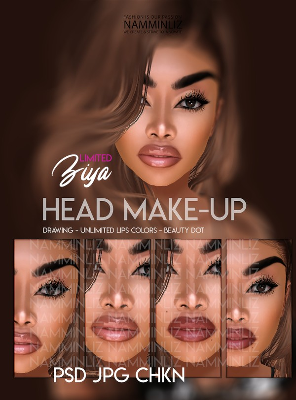 Ziya Head Make-up PSD JPG 3 CHKN Drawing - Unlimited Lips Colors - Beauty dot Limited to 2 clients