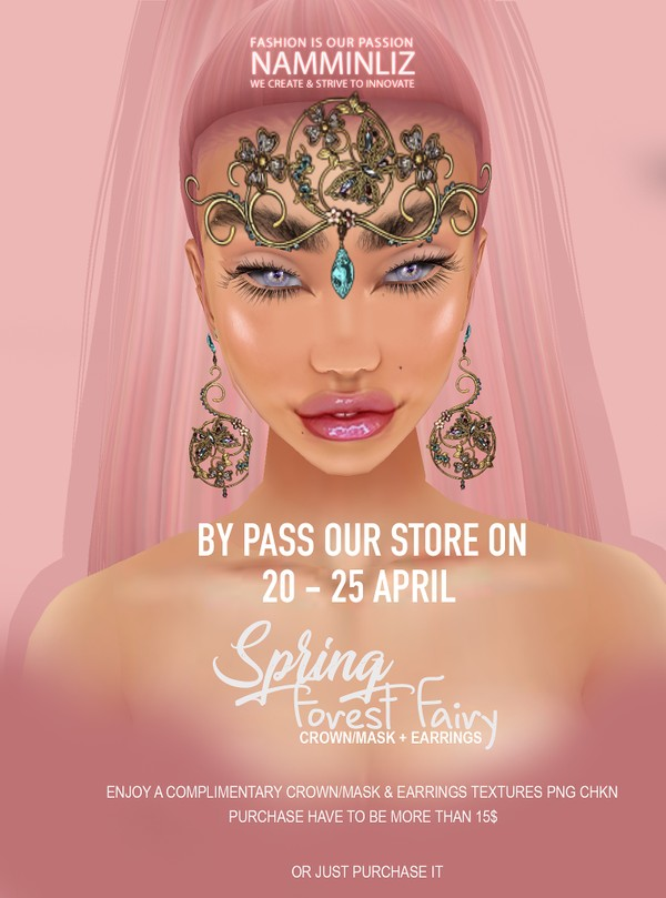 By Pass our stores on 20 to 25 April to get a complimentary Spring Forest Fairy Crowns/Mask + Earrin