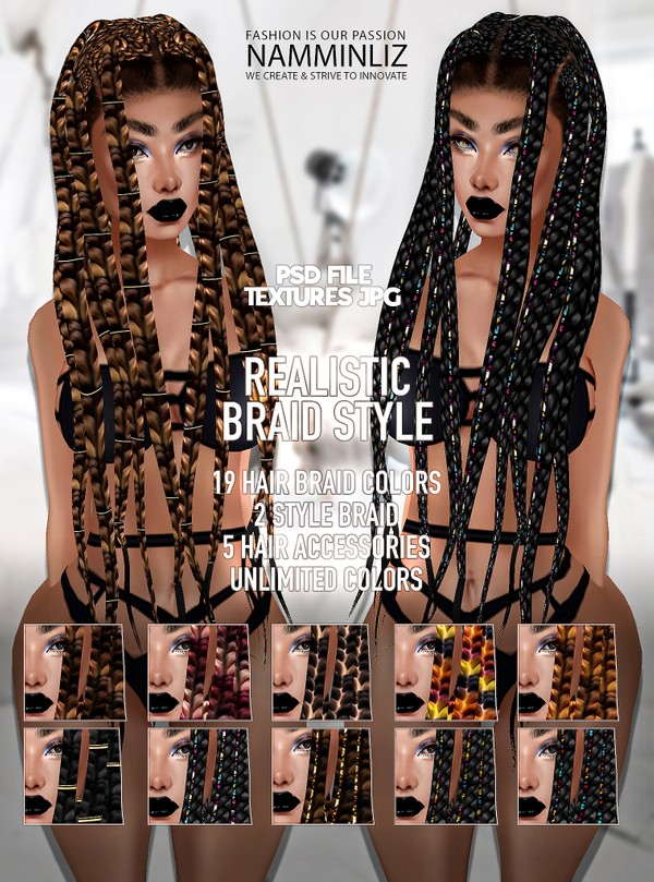 Realistic Braid Style 19 Textures JPG PSD (2 Style 5 Acc Unlimited colors)