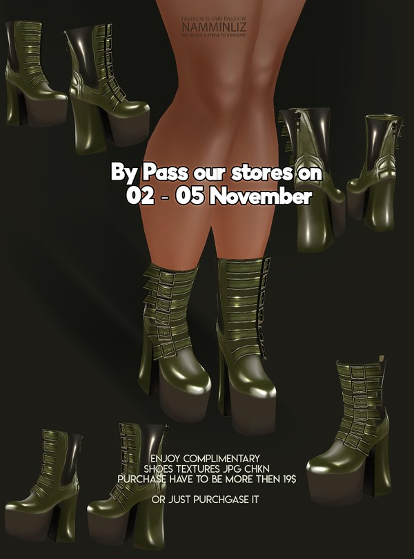 By Pass our stores on 02 - 05 November to get a complimentary Shoes CHKN Texture JPG