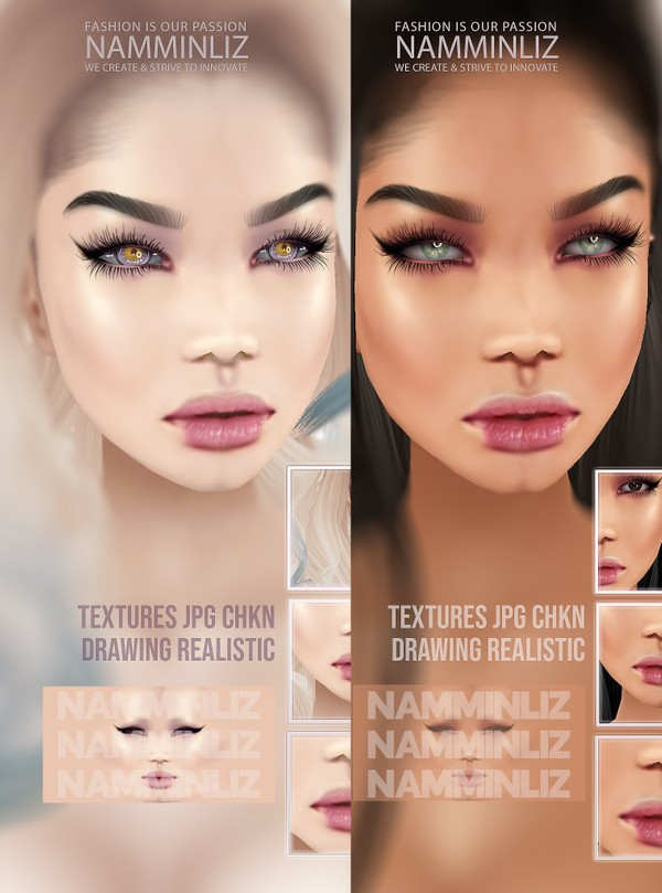 Babe Cream Glossy Smooth 2 Head Make-up Textures JPG CHKN (KD Mesh) Limited to 2 only
