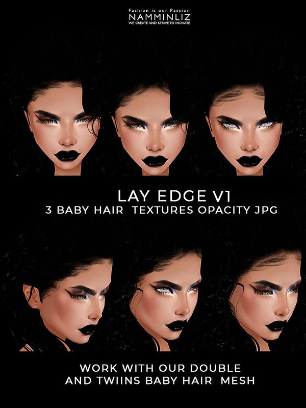 Lay Edge V1 Baby hair Textures 3 Opacity JPG  (work with our Double and TWIINS Mesh link below)