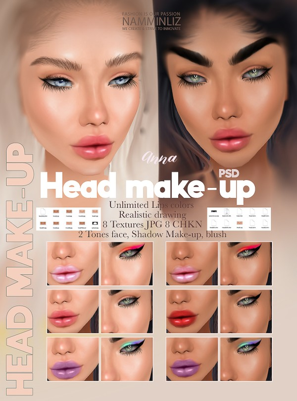 Anna Head Make-up Textures JPG PSD 8 CHKN KD 2 Tones, Unlimited lips colors and 3 Make-up Limited