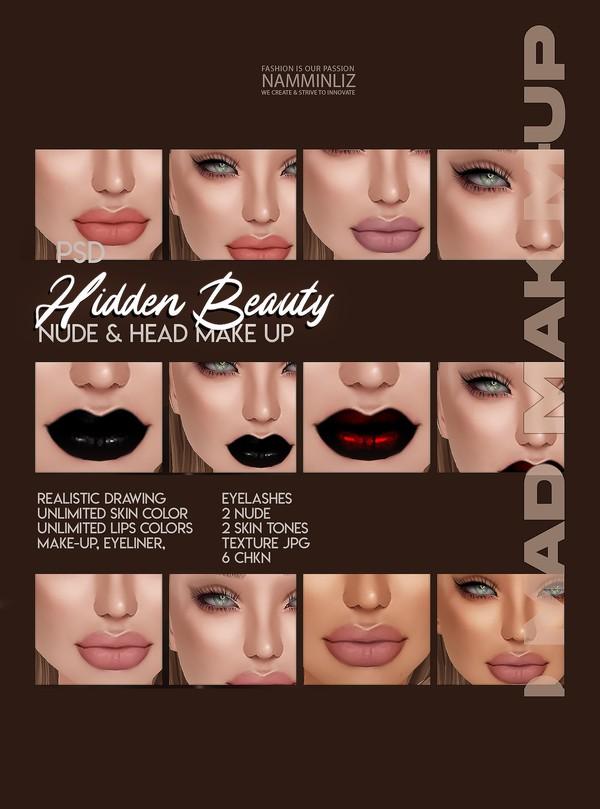 Hidden Beauty Nude & Head Make-up Eyeliner, Eyelashes, 2 Nude, 2 Skin  6 CHKN Limited 3