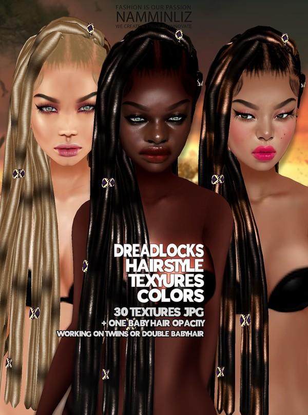 Dread Locks 30 Hairstyle Textures JPG + Baby hair Opacity(work on TWIIN AND DOUBLE Mesh link below)