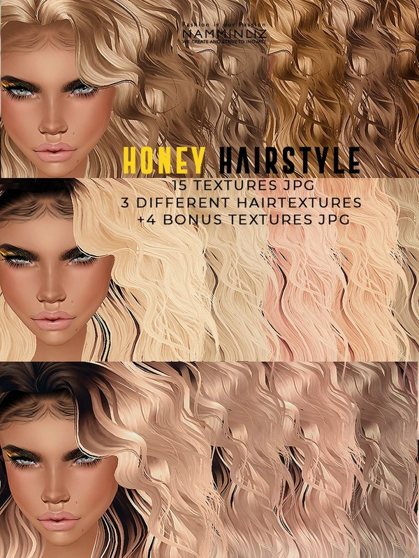 Honey Hairstyle 15 Textures + 4 Bonus from 3 Different Style JPG Textures