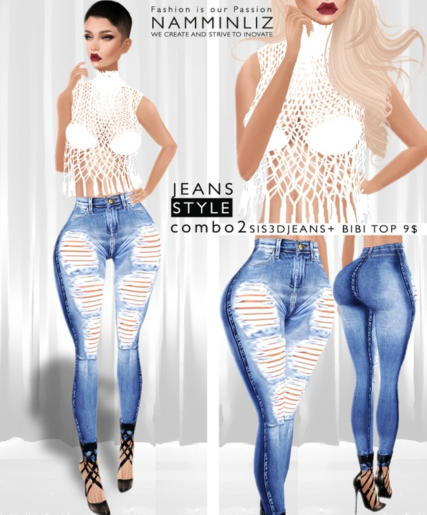 JEANS STYLE Combo2  •Sis3d Jeans + Bibi Top