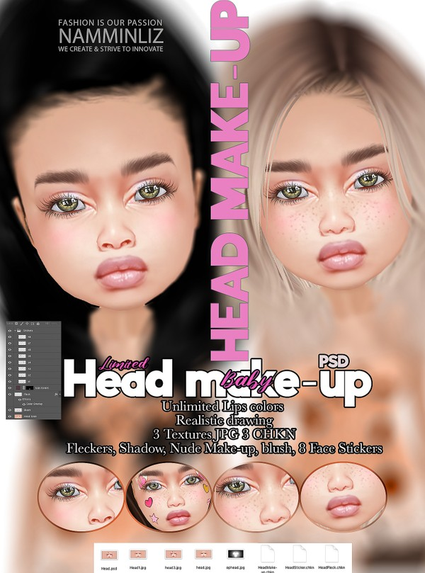 Baby Head Make-up Textures JPG PSD 3 CHKN KD Blush, Fleckers, 8 Stickers Limited to 2 clients only