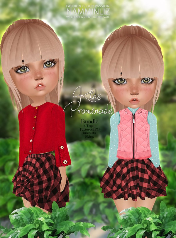 Kids Promenade Bundle V1 Textures JPG (Two Tops bibirasta+ Skirts) CHKN