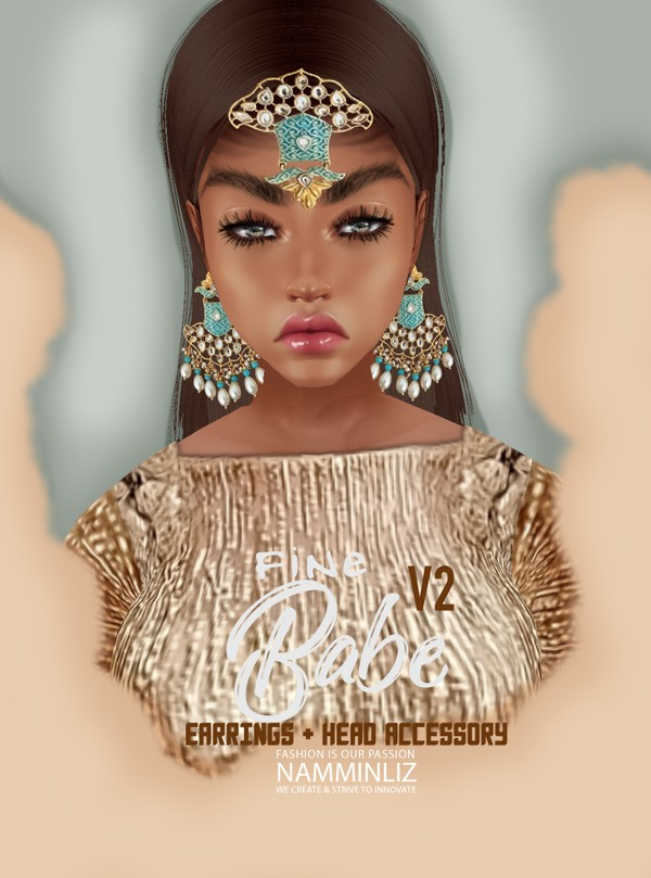 Fine Babe V2 Head Accessory + Earrings Textures PNG  CHKN   ^  -  &
