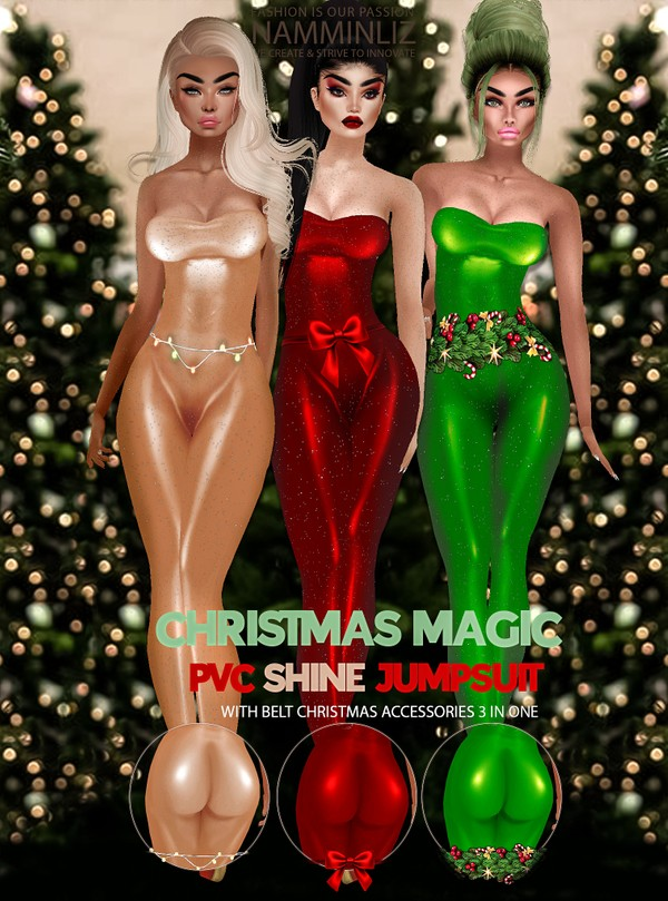 Christmas Magic PVC shine Jumpsuit Box  3 in one Outfits 3 JPG Texture CHKN sis3d