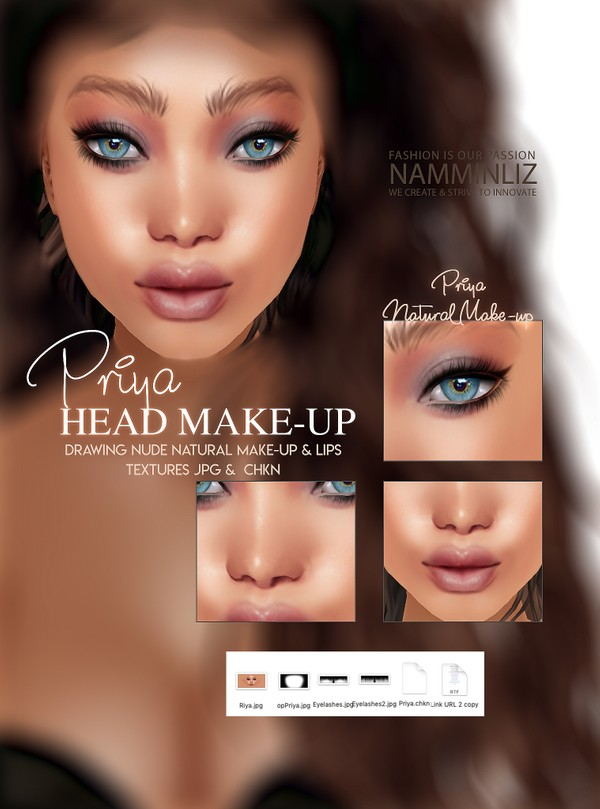Priya Head Make-up Textures JPG CHKN (Make-up, Lips, Eyelashes) Head Mesh link imvu KD Limited to 3
