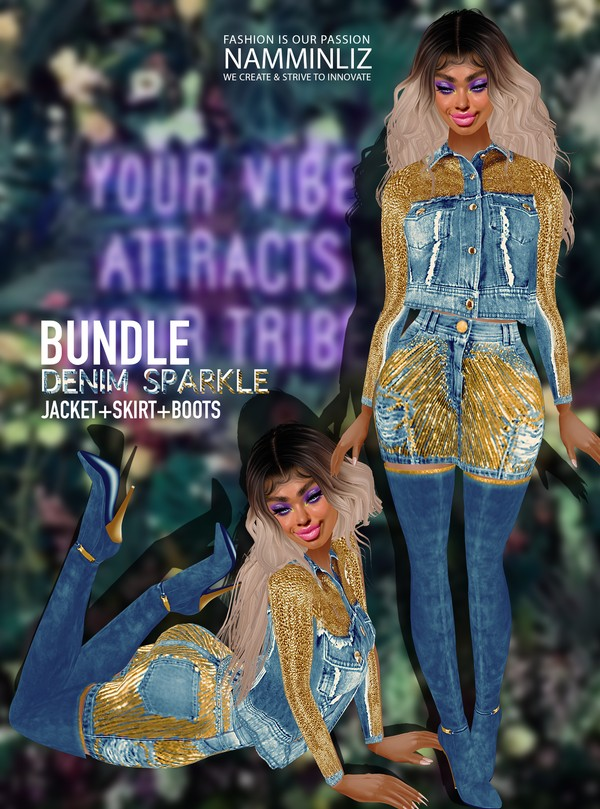 DenimSparkle Bundle Jacket+Skirt+Boots RLL Textures PNG,CHKN Watch it live on tiktok or insta Link