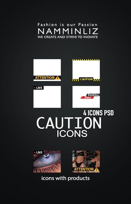 CAUTION 4 Icons PSD Textures