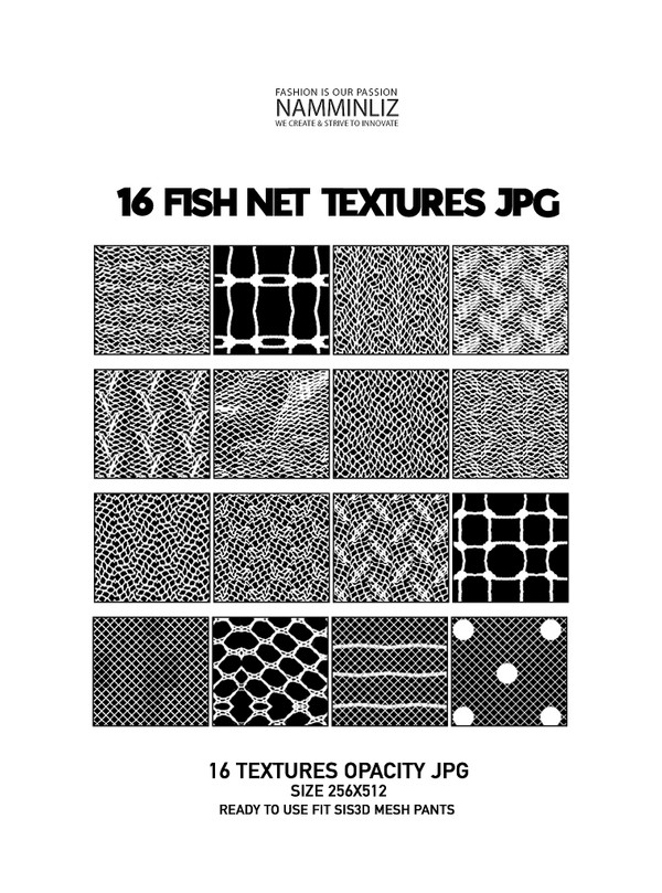16 Fishnet Textures Opacity 256x512 pixel size (ready to use fit sis3d mesh pants)