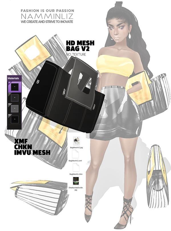 HD Bag imvu Mesh V2 XMF CHKN (no Textures) Derivable Mesh