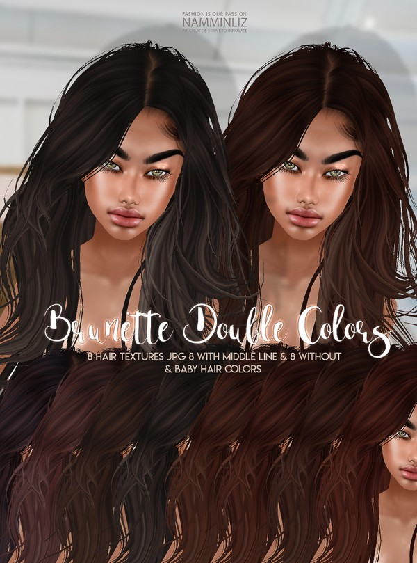 Brunette Double Colors V3 Hair 8 Textures JPG with Midle line & Without & bb Hair Textures color