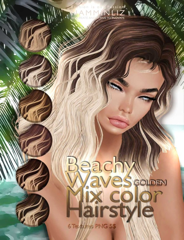 Beachy waves mixc color hairstyle •GOLDEN 6 imvu hair texture PNG