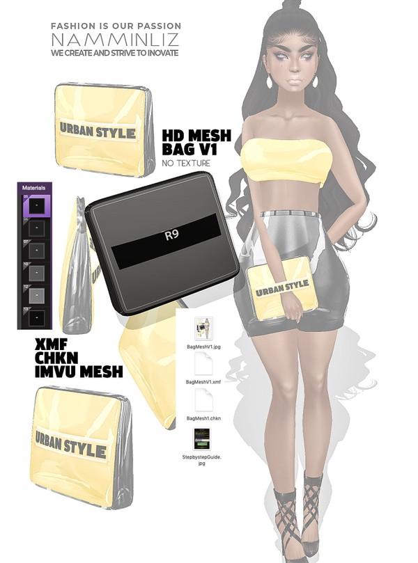 HD Bag imvu Mesh V1 XMF CHKN (no Textures) Derivable Mesh