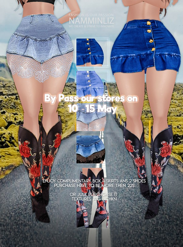 By Pass our stores on 10 to 15 May to get a complimentary Box 4 Skirts & 2 Shoes Textures JPG 4 CHKN