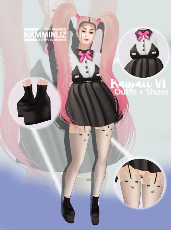 Kawaii Bundle V1 Outfit + Shoes Textures PNG  CHKN